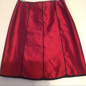 Silkland crimson red & black silk skirt size 14P